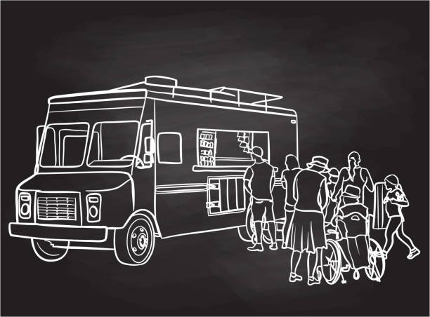 ilustraciones, imágenes clip art, dibujos animados e iconos de stock de food truck customers chalkboard - small business saturday