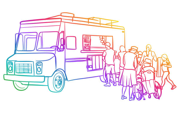 ilustraciones, imágenes clip art, dibujos animados e iconos de stock de food truck clientes arco iris - small business saturday