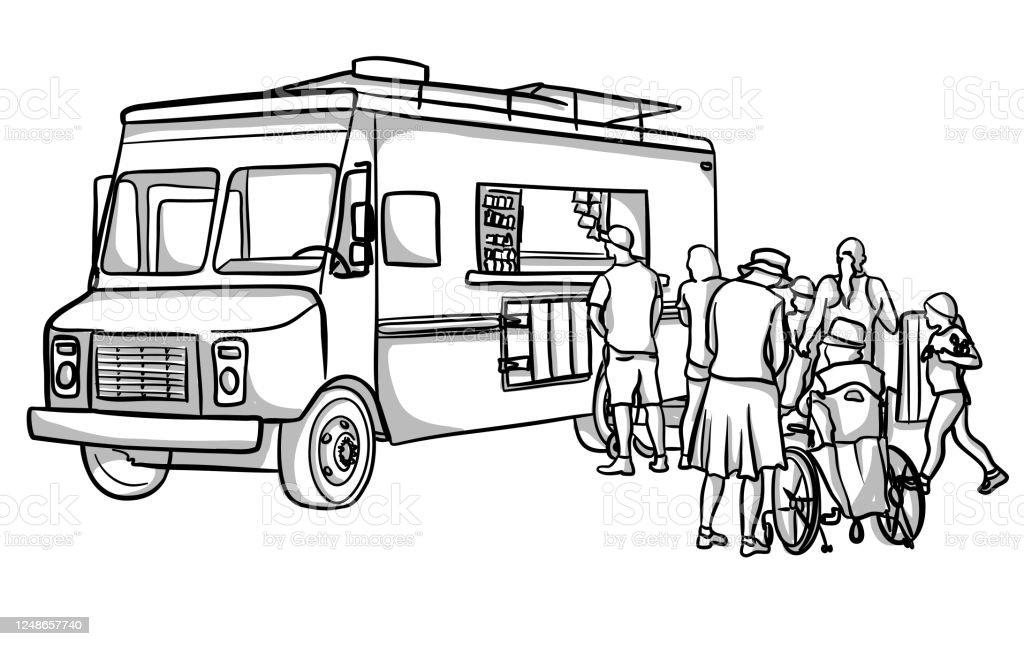Food Truck Customers - Grafika wektorowa royalty-free (Bazgroły - Rysunek)