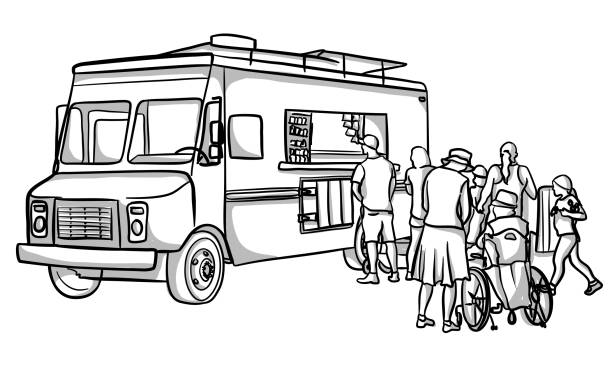 ilustraciones, imágenes clip art, dibujos animados e iconos de stock de clientes de food truck - small business saturday