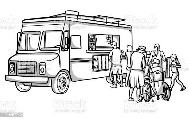 Food Truck Customers - Stockowe grafiki wektorowe i więcej obrazów Bazgroły - Rysunek