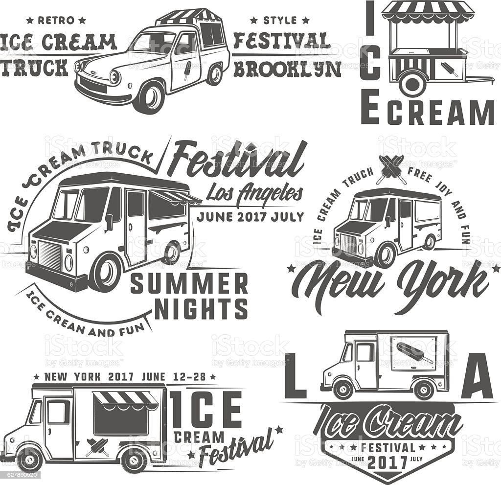 food truck emblems, badges and design elements vector art illustration