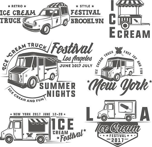 food truck emblems, badges and design elements - imbisswagen stock-grafiken, -clipart, -cartoons und -symbole