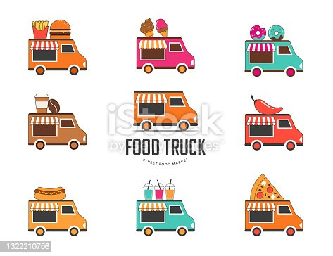 istock Food truck fair, Night market, Summer fest, food and music street fair, family festival poster and banner 1322210756