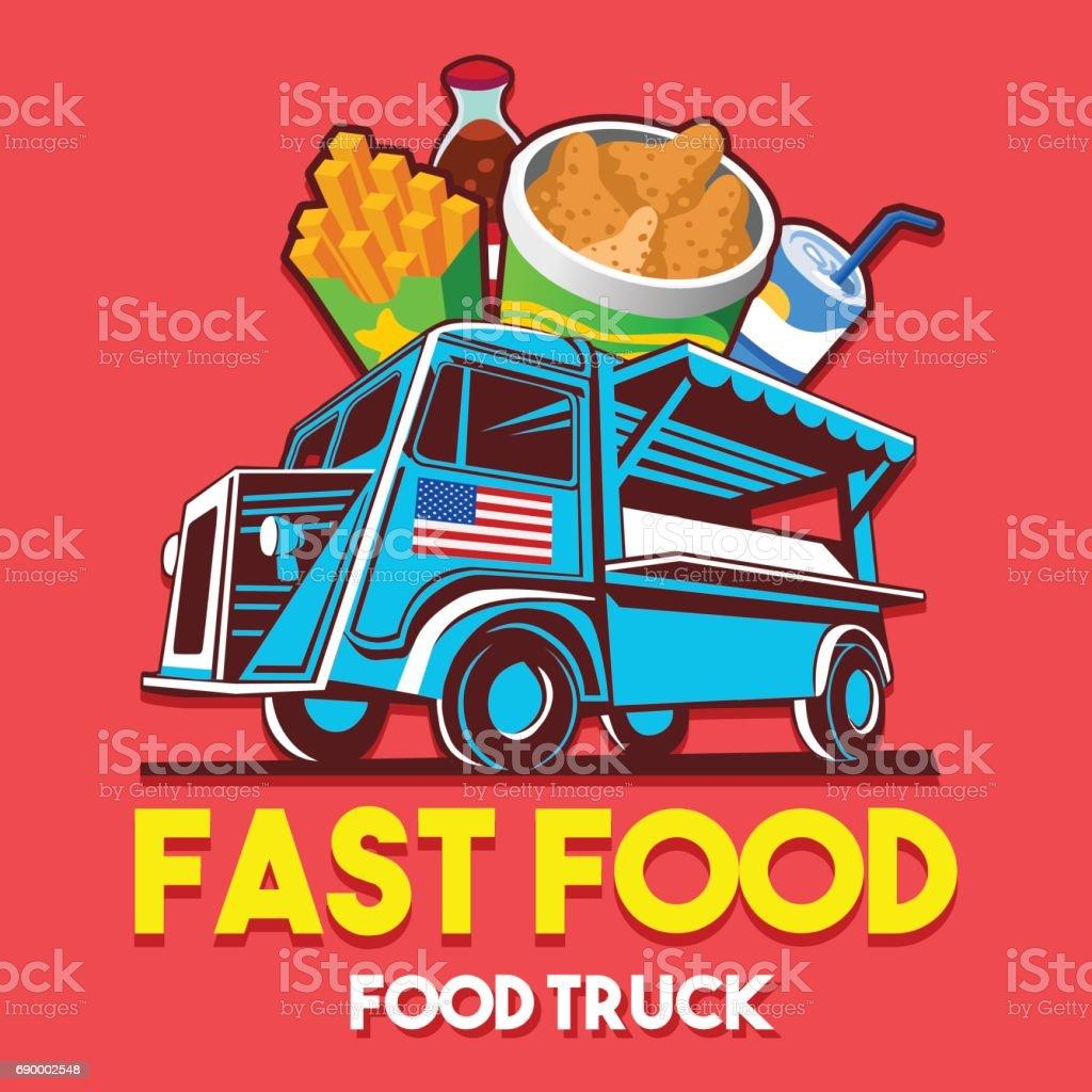 Essenlkw Fastfood Restaurant Lieferung Service Vektorsymbol Stock ...