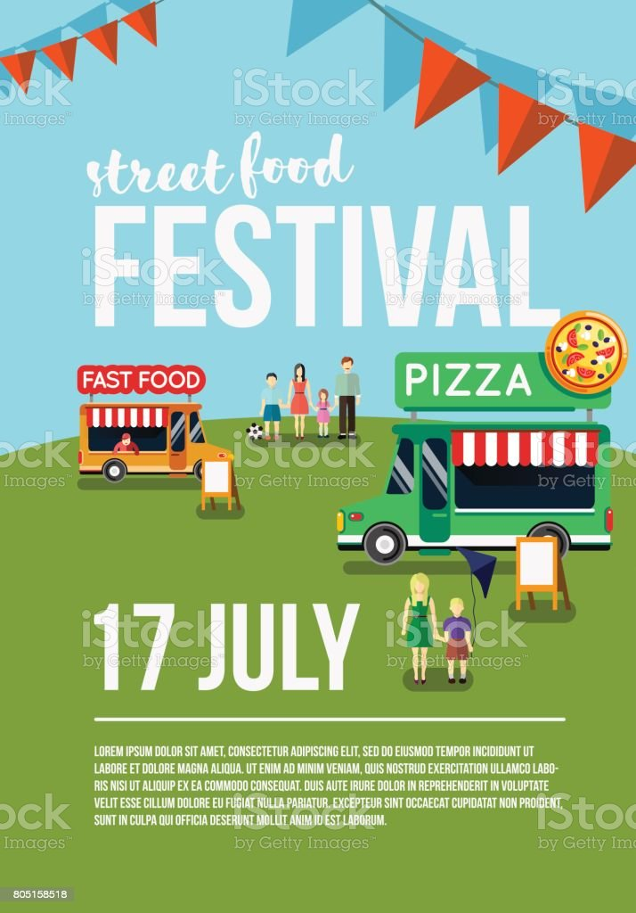 Food truck festival event flyer vector art illustration
