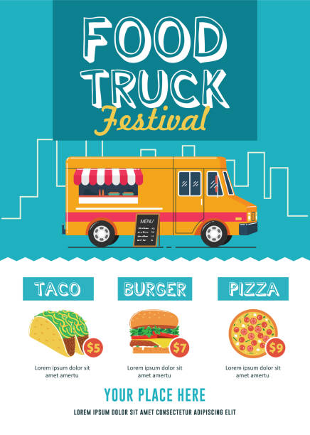 food truck festival flyer template - tradycyjny festiwal stock illustrations