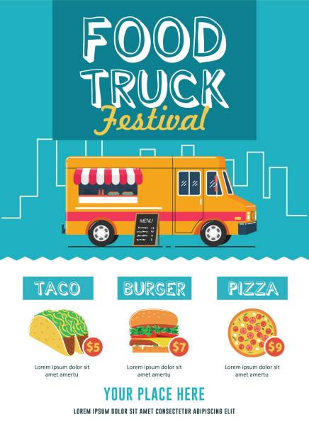lebensmittel truck festival flyer vorlage - gastronomiebetrieb stock-grafiken, -clipart, -cartoons und -symbole