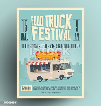 Food truck festival poster, flyer, street food template design. Vintage creative party invitation with cartoon hot dog food truck. Vector eps 10 illustration.