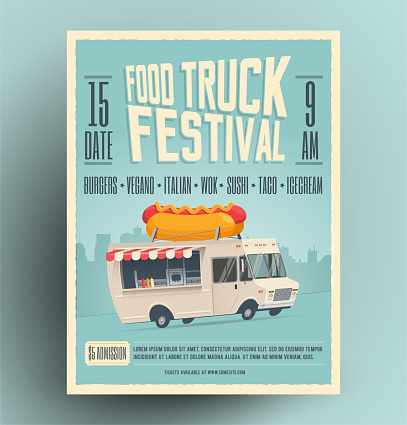 Food truck festival poster, flyer, street food template design. Vintage creative party invitation with cartoon hot dog food truck. Vector illustration.