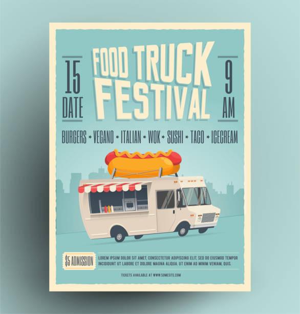 음식 트럭 축제 포스터, 전단지, 거리 음식 템플릿 디자인입니다. 만화 핫도그 음식 트럭 빈티지 창조적 인 파티 초대장. 벡터 일러스트입니다. - 시장 소매점 stock illustrations