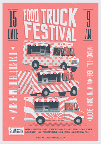 Food Truck Festival Poster Flyer Template. Street Food Poster. Vector Illustration.