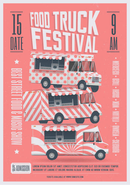 Food Truck Festival Poster Flyer Template. Street Food Poster. Vector Illustration. Food Truck Festival Poster Flyer Template. Street Food Poster Flyer. Vector Illustration. food festival stock illustrations