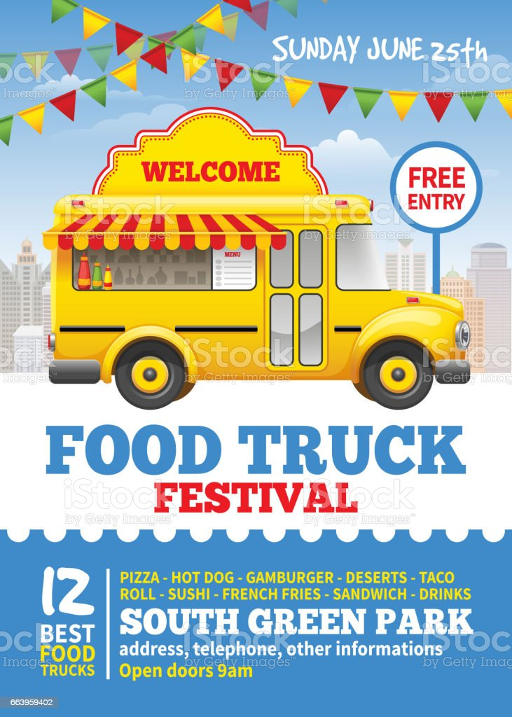 Food Truck Festival Poster Stock Vector Art & More Images ...