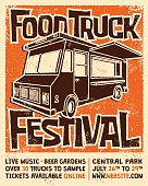 istock Food Truck Festival Screen Printed Poster Vector Design 476662532
