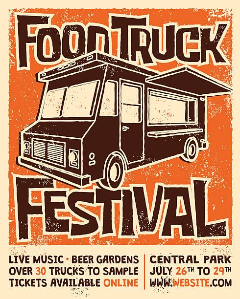 bildbanksillustrationer, clip art samt tecknat material och ikoner med food truck festival screen printed poster vector design - traditionell festival