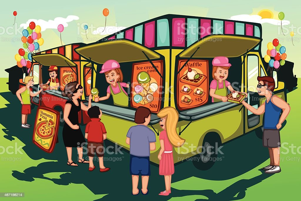 Food truck festival vector art illustration