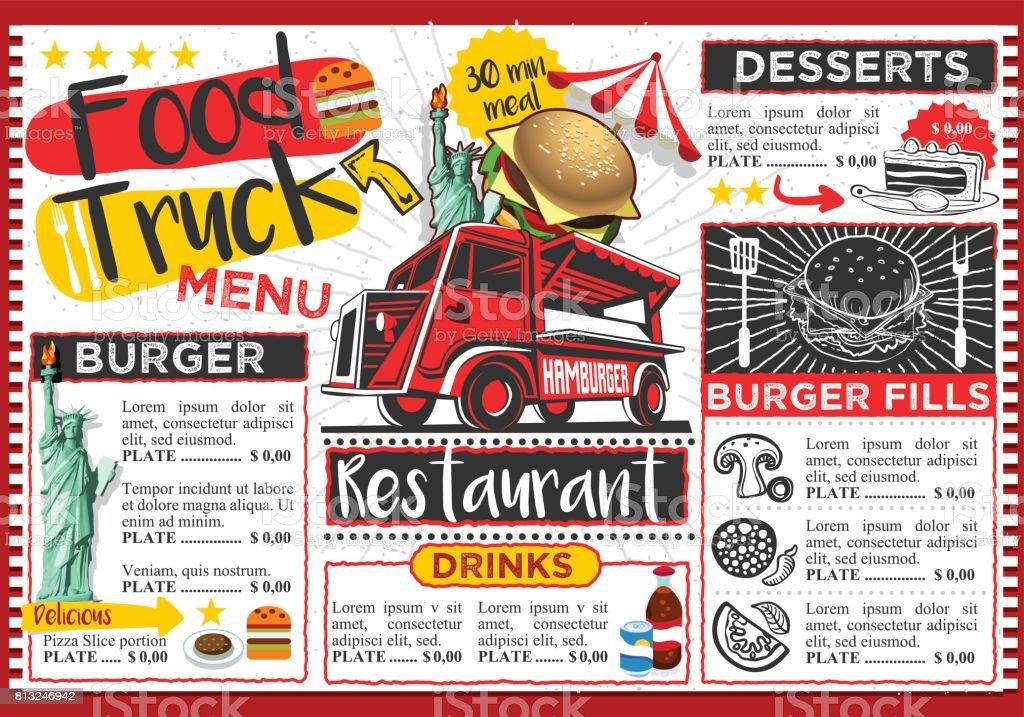 Food Truck Festival Vector Menu Template Design vector art illustration