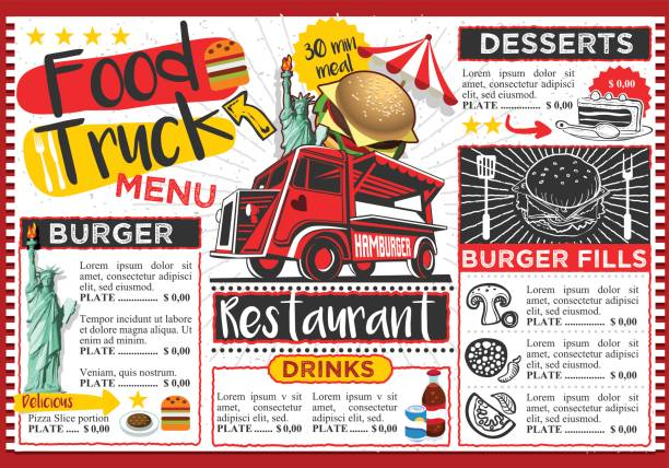 food truck festival vector menu template design - junk food stock illustrations, clip art, cartoons, & icons