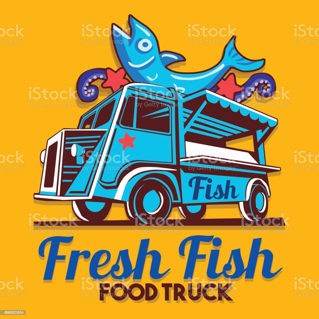 Food Truck Fish Shop Delivery Service Vector symbol vector art illustration