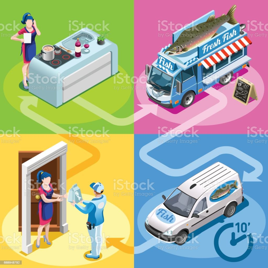 Food Truck Fish Shop Home Delivery Vector Isometric People vector art illustration