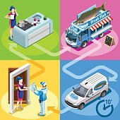 Food Truck Fish Shop Home Delivery Vector Isometric People