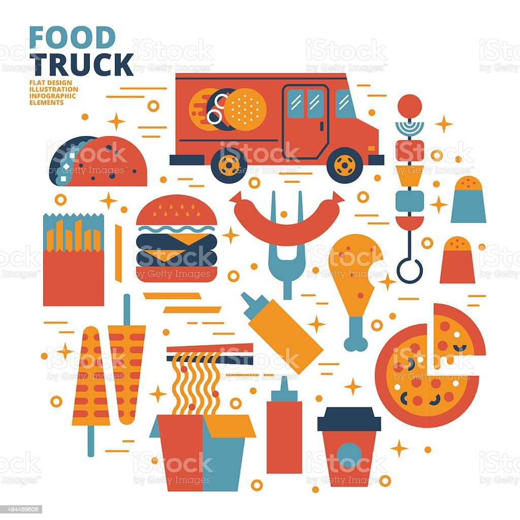 Food Truck Flat Design Illustration Stock Illustration ...