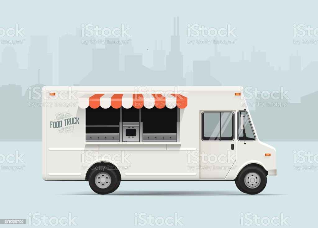 Food truck. Flat styled vector illustration. vector art illustration