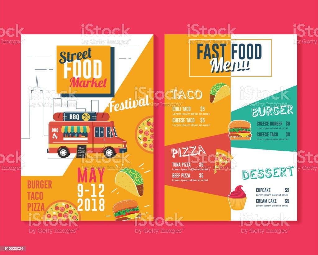 Food Truck Flyer And Menu Template Street Food Market Stock Vector - Food truck flyer template