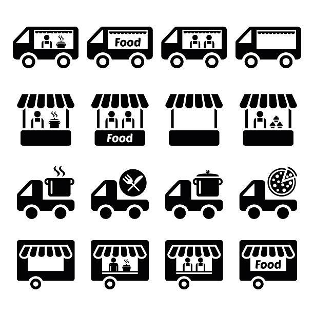 stockillustraties, clipart, cartoons en iconen met food truck, food stand and food trailer icons set - marktkraam