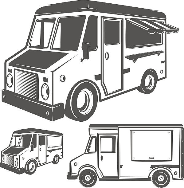 food truck for emblems and logo - imbisswagen stock-grafiken, -clipart, -cartoons und -symbole