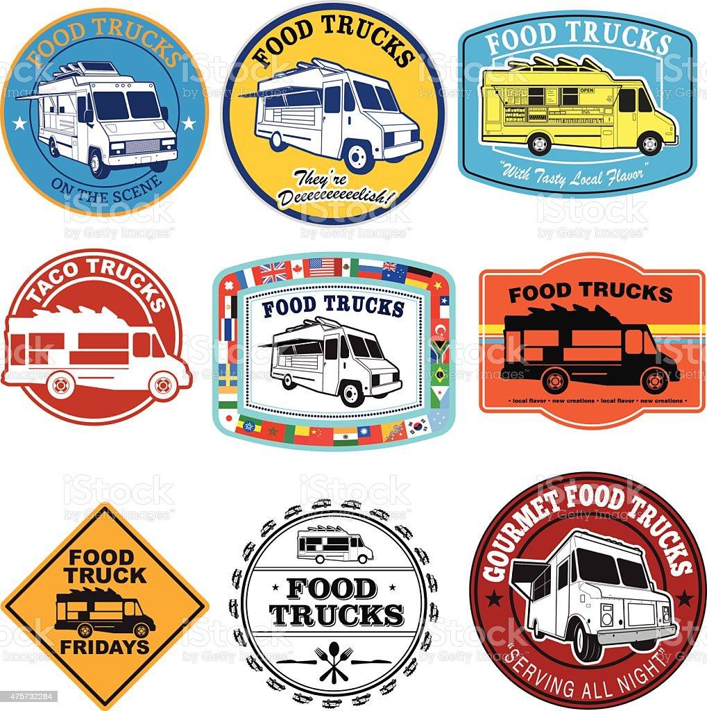 Food Truck Graphic Set vector art illustration