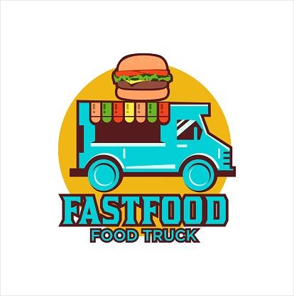 Food Truck Hamburger Vector Illustration, Fast Food Truck Icon Template
