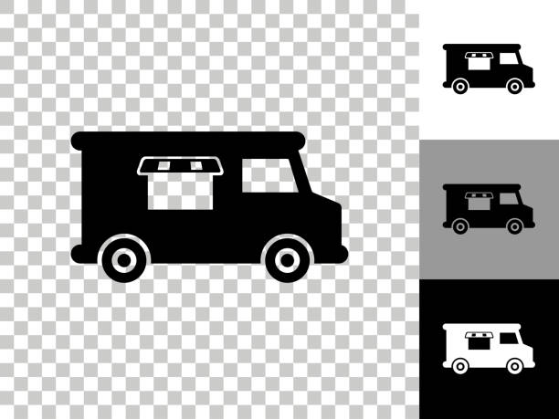 Food Truck Icon on Checkerboard Transparent Background vector art illustration