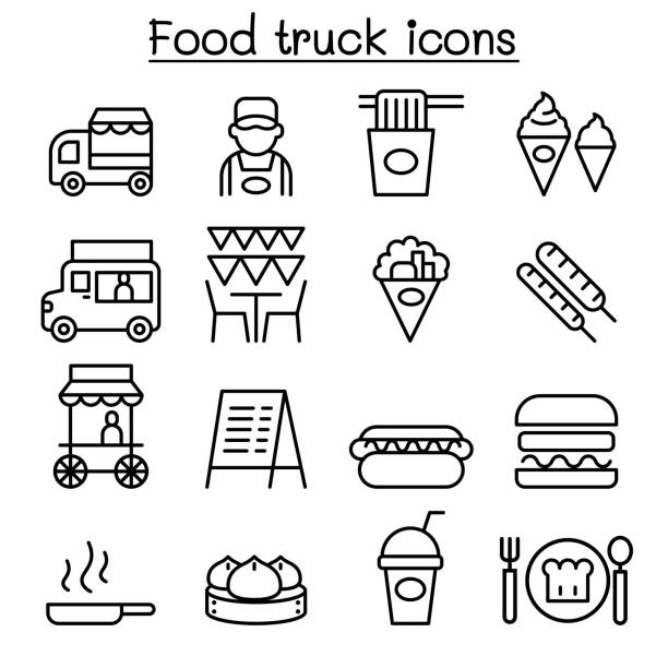 Food truck icon set in thin line style vector art illustration