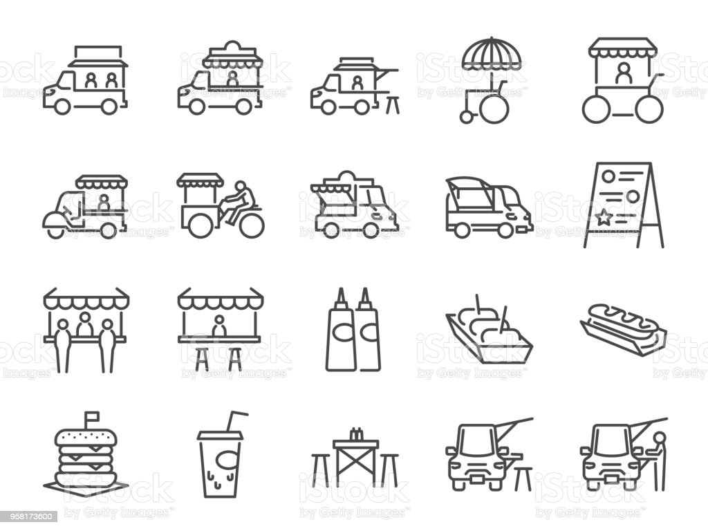 Food truck icon set. Included the icons as flea market, street food, hamburger, hotdog, trailer, business, merchant and more vector art illustration