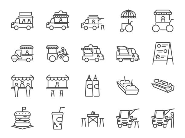 food truck icon set. included the icons as flea market, street food, hamburger, hotdog, trailer, business, merchant and more - small business owner stock illustrations