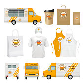 Food truck identity. Fast catering business tools for mobile restaurant delivery cards logos blank poster packages vector template