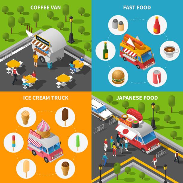 izometryczny food truck 2x2 - burger and chicken stock illustrations