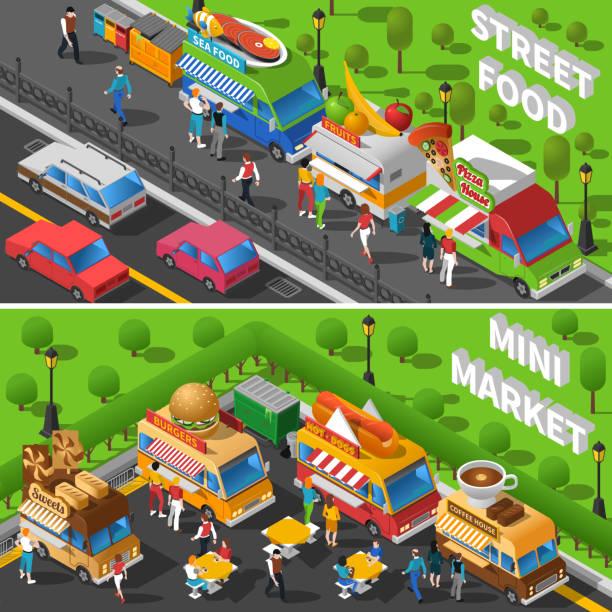 kompozycje izometryczne food trucków - burger and chicken stock illustrations