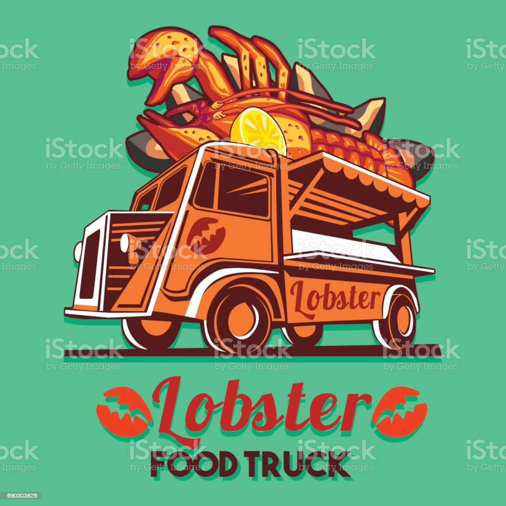 Food Truck Lobster Seafood Salad Fast Delivery Service Vector icon vector art illustration
