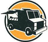 logo style illustration of a food truck with light grunge look