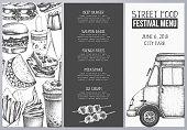 Fast food flyer for cafe or restaurant design. Engraved style booklet template. Street food festival menu. Vector iilustration.