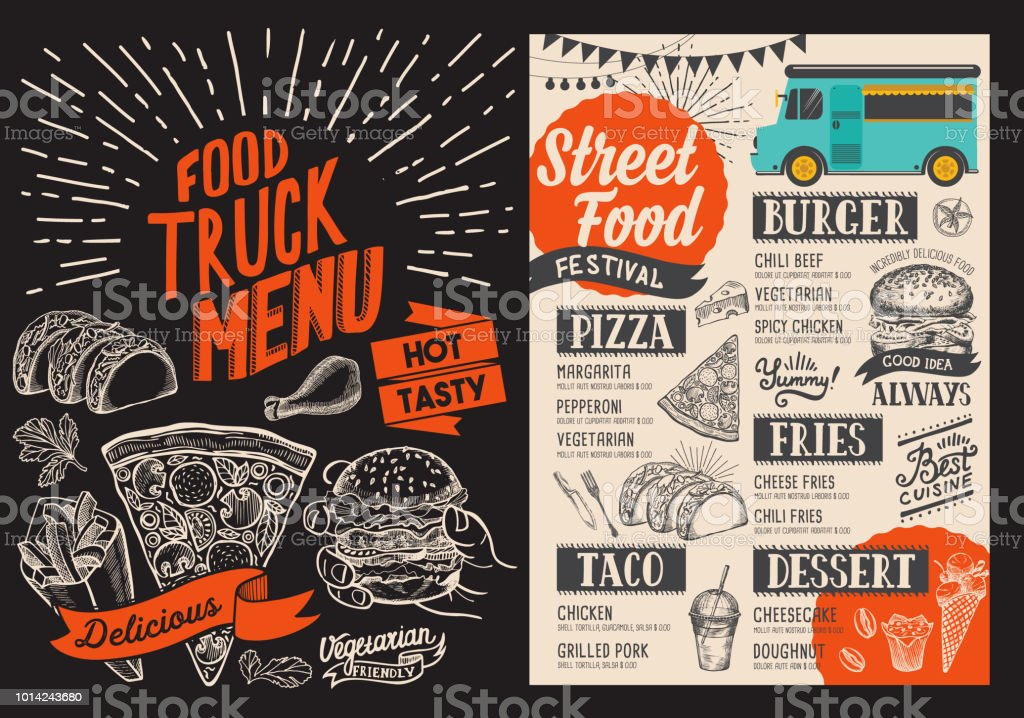 food truck menu for street fest design template with handdrawn