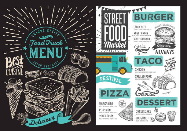 Food truck menu for street festival on blackboard background. Design template with hand-drawn graphic illustrations. vector art illustration