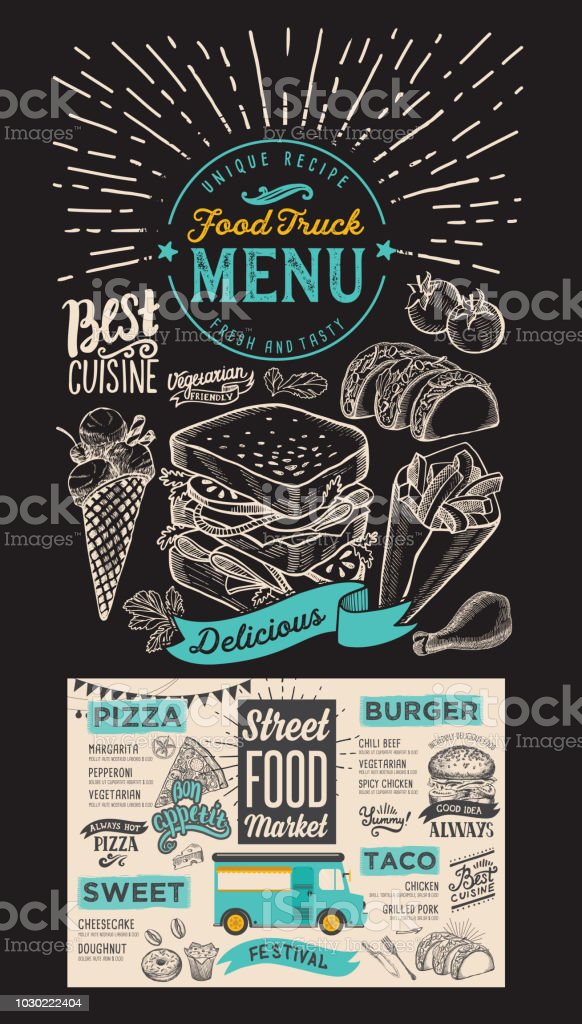 food truck menu for street festival on chalkboard background design