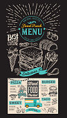 Food truck menu for street festival on chalkboard background. Design template with hand-drawn graphic illustrations.