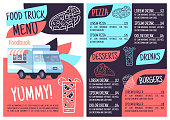 Food truck menu template. Print design with flat icons. Concept vector illustrations. Restaurant, cafe banner, flyer brochure page with food prices layout