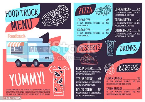 istock Food truck menu template. Print design with flat icons. Concept vector illustrations. Restaurant, cafe banner, flyer brochure page with food prices layout 1209238905