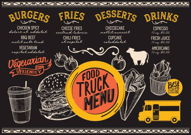 Food truck menu template. vector art illustration